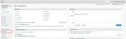 Diagram 4.  The WordPress Admin Dashboard