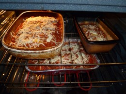 In the oven ready to cook - you can see I had enough ingredients to do a mini lasagna.