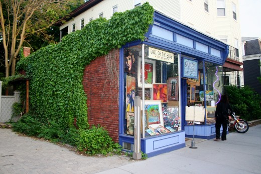 The front of the former Out of the Blue art gallery, located on Prospect St. in Cambridge, MA. It is now located around the corner, on Massachusetts Avenue.