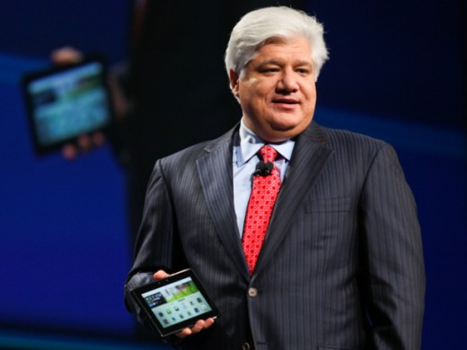 Mike Lazaridis (RIM's CEO) holding the BlackBerry Playbook.
