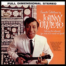 Album cover for Hawaiin ukulele player, Johnny Ukulele (son of Prince Koeheo Ka'aihue) who made a career in mainland America for fifty years before returning to his island home.