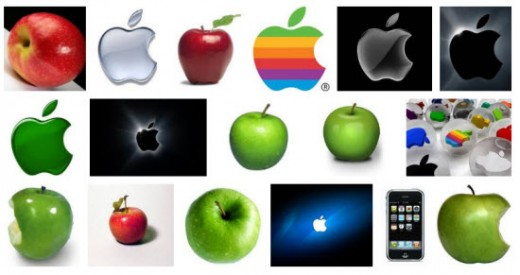 "An example of search results for the word ""apple"" using Google Image search engine"