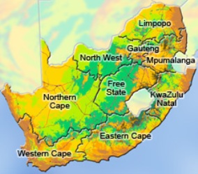 Nine provinces in South Africa
