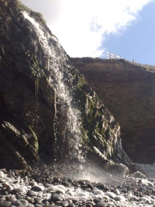 Sandymouth Waterfall in winter