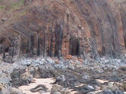 Unusual rock formations at Sandymouth - the darker rocks in the foreground have all been covered by sand in the summer of 2010