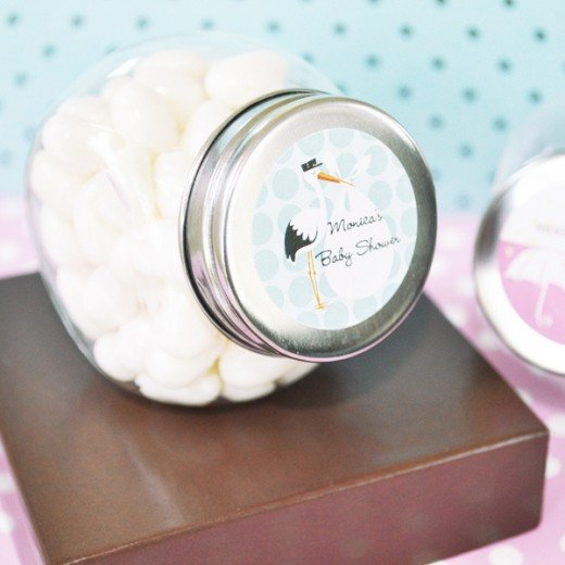 Stork themed candy jar favors