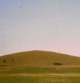 Cley Hill, Warminster. A small black object can be seen in the upper left of the photo. Was this a UFO? Photo by Steve Andrews