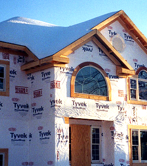 Housewrap thwarts penetrating air and moisture.