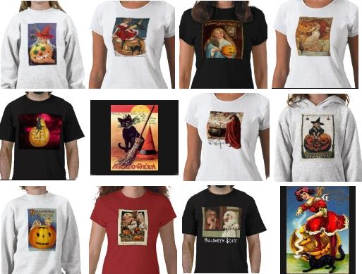 12 of 85 Halloween Vintage T-shirts on Sandyspider on Zazzle under the same name product line. All these t-shirts can be customized and changed from an adult mens t-shirt to a womens, kids, toddlers and infants shirt. The stypes can change too.