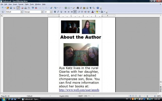 """My """"about the author"""" page -- page 24"""
