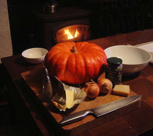 Ingredients for cheesy pumpkin soup - the pumpkin was a gift from our neighbour