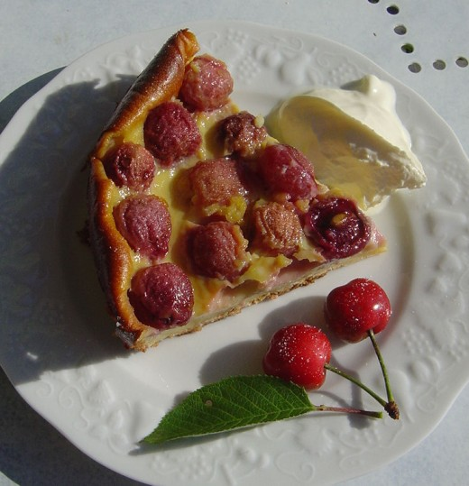 Clafoutis, a local Limousin dessert made with cherries or other fruit. Yes, our own cherries