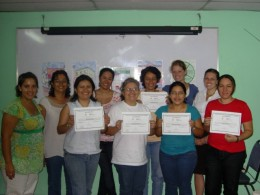 El Salvadoran microfinance loan officers with their business training diplomas.