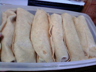 Assembled Burritos.