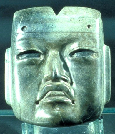 This single piece jade mask is attributed to the Olmec and may have served as a funerary mask for an important people. This one is less negroid than the giant heads. This is a hint of cultural cross over between the Olmec and Maya.