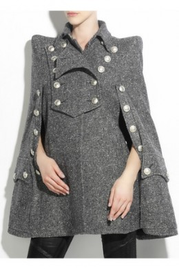 Fashionable Military Themed Balmain Tweed Cape