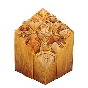 Enesco offers the Pillar to Heaven and several other collectible all-wood ornaments and home decorations. Jim Shore is another talented artist, whose Christmas décor and ornaments are equally as collectible.