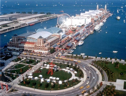 beautiful Navy Pier in Chicago, IL aerial view