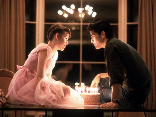 Molly Ringwald and Micael Shoeffling in Sixteen Candles