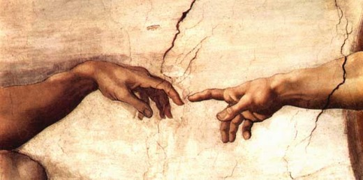 Detail from the ceiling of the Sistine Chapel...Michealangelo's Creation of Adam