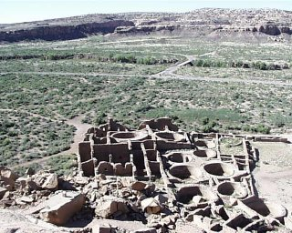 This is a view from one of the villages overlooking the canyon floor where they grew food from agricultural practices on marginal, semi-arid land. The Pueblo were noted as being able to adapt to climate change.