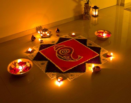 Rangoli, decorations made from colored powder, is popular during Diwali (Photo by Subharnab Majumdar)