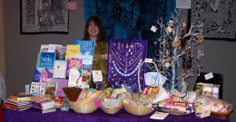 Joan from Opal Moon shows her goods for sale from Crystals to Healing Hands books and jewellery.   Opal Moon is one of our longer lasting shops in Glasgow previously situated in the lane at the back of Byres Road.