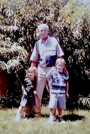 Burton George Gundlach 1919-1998 Last Photo Taken with Great Grandchildren Joseph (4) and Jordan (3) August 1998 (about 6 weeks before his death)