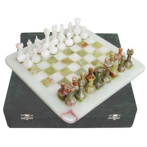 Green Onyx and White Onyx Chess Set comes with free gift box