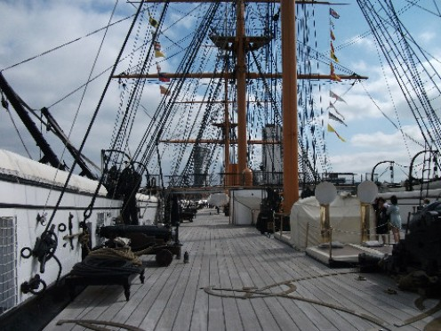 On the deck of HMS Warrior