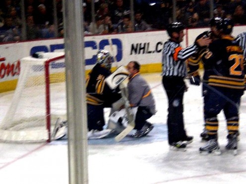 Ryan Miller, the goalie of Buffalo Sabres; suffered an ankle sprain playing a highly intense match in the NHL