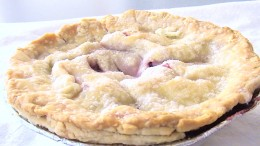 A close up of the mini- Super Star Triple Berry Pie.  Pie crust made with conventional oil-based dough recipe.