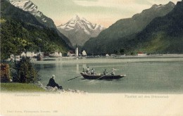 "Lake Lucerne (German: Vierwaldstttersee, lit. ""Lake of the Four Forested Cantons"") with Mount Bristenstock in the background"