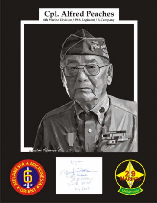 Cpl. Alfred Peaches U.S. Marine Navajo Code Talker WW ll with authentic autograph