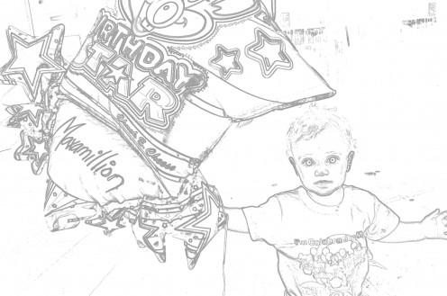 Maxamillion with birthday star balloon