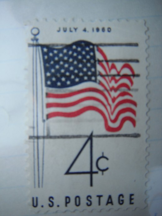 A United States four cents stamp of the 1960s