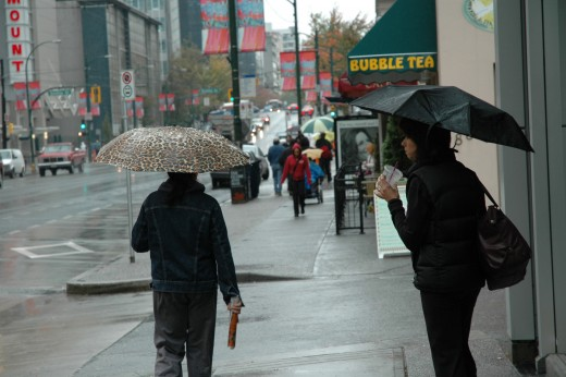 Another rainy day on Robson Street.