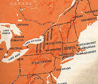 The Iroquois lived roughly in the center of this region with the Algonquian to the east, the Cree to the north and the Huron to the north west.