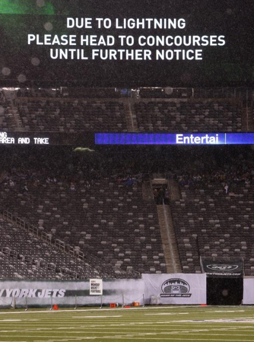 Stands are empty before an NFL football game between the Minnesota Vikings and the New York Jets on Monday, Oct. 11, 2010, in East Rutherford, N.J. The start of the game was delayed because of lightning and heavy rain; fans were cleared from the stan