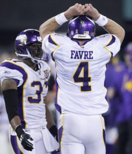 Minnesota Vikings' Brett Favre reacts after failing to get a first down during the fourth quarter of an NFL football game against the New York Jets early Tuesday, Oct. 12, 2010, in East Rutherford, N.J. The Jets won 29-20. (AP Photo/Seth Wenig)