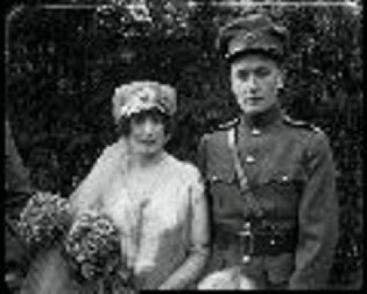 Gearoid O'Sullivan and Maud Kiernan (sister of Michael Collins' fiancée Kitty Kiernan) at their wedding, Oct. 1922 - two months after Collins' death.