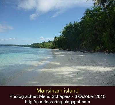 Beautiful white sandy beach of tropical island of Mansinam in the Dorey bay of Manokwari - the capital of West Papua province