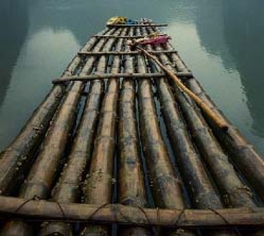 Raft built with 6' diameter, 50' long 7 of these bundles of bamboo with truck tires between the bundles to prevent chaffing.