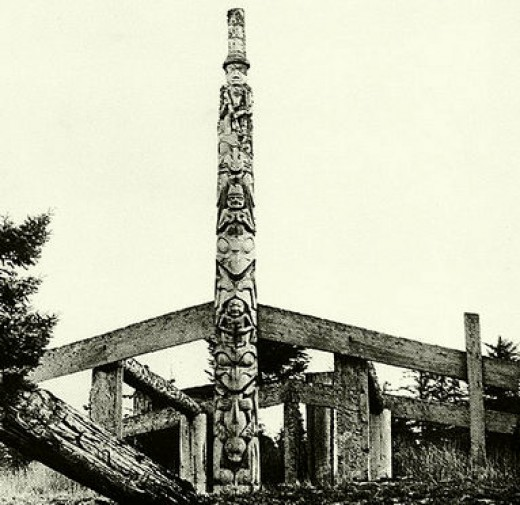 The centerpiece of the west coast First Nations was the long house, *being constructed here) and the totem pole, which contained the particular totem animals of each extended family.
