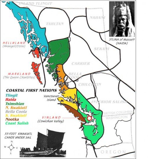 This is a map showing the First Nations of the west coast prior to the settling of the Europeans.