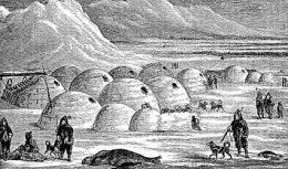 This is an artist's rendition of an Inuit village of igloos. though made of compressed snow, they were warm due to body heat and from whale oil lamps.