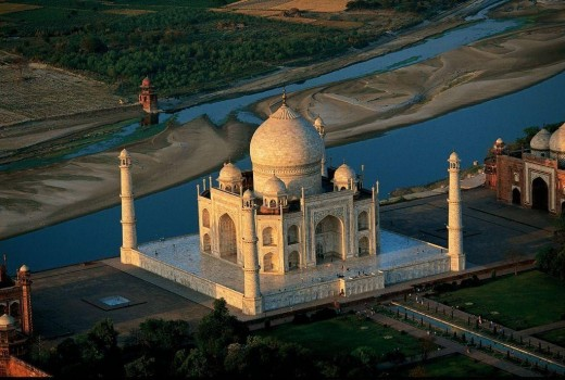 AERIAL VIEW OF THE TAJ MAHAL ON THE BANKS OF RIVER YAMUNA