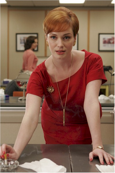 Christina Hendricks as va-va-voom secretary, Joan Harris