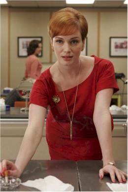 Christina Hendricks as va-va-voom secretary, Joan Harris