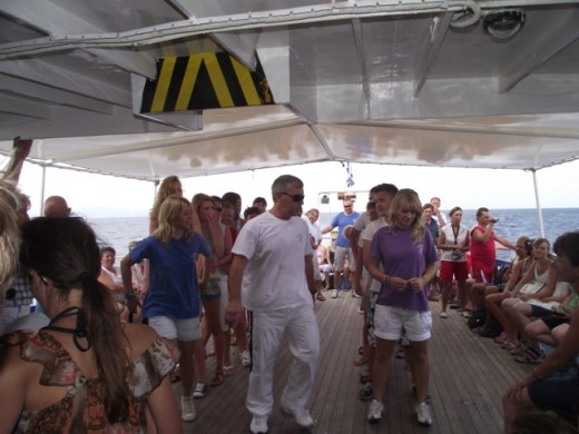 Greek dancing on the boat